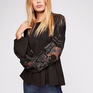 Free People Embroidered Penny Top Black Small